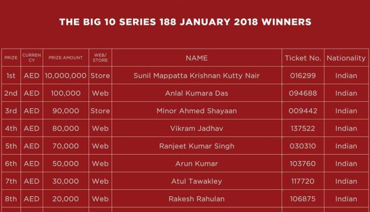 big ticket abu dhabi series 10 winners full list
