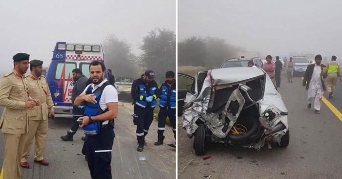 emirates road car crash fog