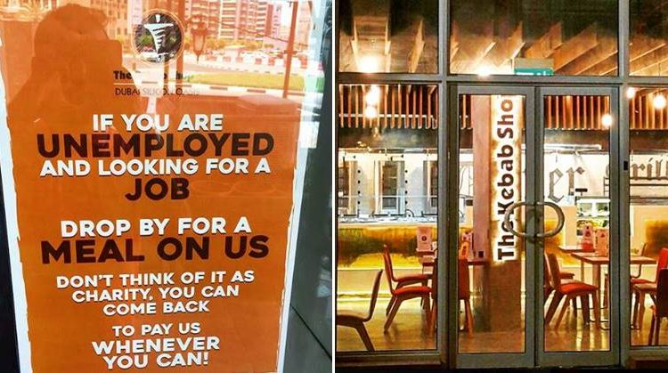 dubai restaurant free meal to unemployed