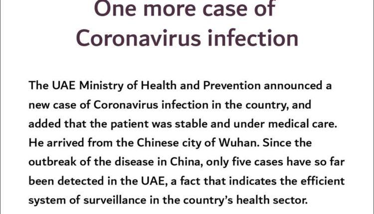 uae ministry of health coronavirus new case 1